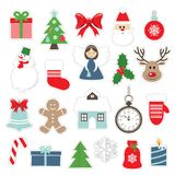 Christmas and new year festive stickers. Christmas and new year festive stickers set  on white. Santa Claus, angel, deer, house, snowman Stock Photos