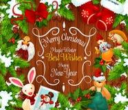 Christmas or New Year festive wreath greeting card Stock Photos