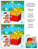 Christmas or New Year find the differences picture puzzle with giftbox and ginger man Royalty Free Stock Photography