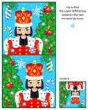 Christmas or New Year find the differences picture puzzle with nutcracker. New Year or Christmas visual puzzle: Find the seven differences between the two Stock Images