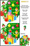 Christmas or New Year find the differences picture puzzle. Christmas or New Year visual puzzle: Find the 7 differences between the two pictures of elves and Royalty Free Stock Images