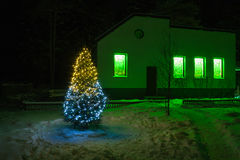 Christmas and  new year fir tree  night with illumination  light Stock Photo