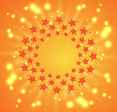 Christmas and new year firework stars on sky Royalty Free Stock Image