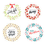 Christmas and New Year flat design badges and elements Stock Photography