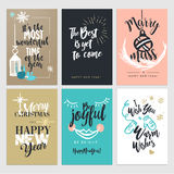 Christmas and New Year flat design greeting cards collection. Hand drawn vector illustration concepts Royalty Free Stock Images