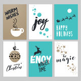 Christmas and New Year flat design greeting cards set Stock Photos