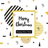 Christmas and New Year flat design greeting cards with Square Frame. Memphis style. Golden vector illustrations for. Greeting cards, website and mobile banners Royalty Free Stock Image