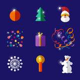 Christmas and New year flat design icon set Stock Photography