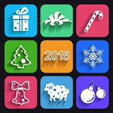 Christmas and new year flat icons with long shadows. Royalty Free Stock Photo