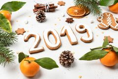 Christmas New Year 2019 flat lay stock photography
