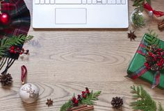 Christmas, New Year Flat Lay With A Laptop Keyboard, Scottish Tartan And On The Wooden Background. Stock Images