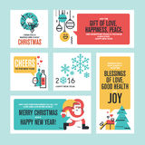 Christmas and New Year flat line design concept. For greeting card and banner Royalty Free Stock Image