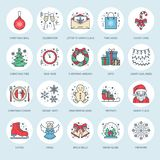 Christmas, new year flat line icons. Winter holidays - christmas tree gift, snowman, santa claus, fireworks, angel Royalty Free Stock Photo