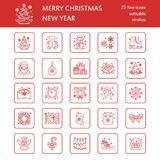 Christmas, new year flat line icons. Winter holidays - christmas tree gift, snowman, santa claus, fireworks, angel royalty free illustration