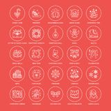 Christmas, new year flat line icons. Winter holidays - christmas tree gift, snowman, santa claus, fireworks, angel. Vector illustration, signs for celebration Stock Images
