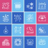 Christmas, new year flat line icons. Winter holidays - christmas tree gift, snowman, santa claus, fireworks, angel. Vector illustration, signs for celebration Royalty Free Stock Photos