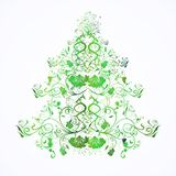 Christmas or new year floral tree Royalty Free Stock Image