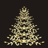 Christmas or new year floral tree. Christmas or New Year tree vector illustration