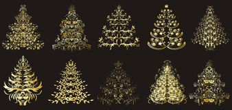 Christmas or new year floral trees Stock Images