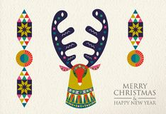 Christmas and New Year folk art deer greeting card. Merry Christmas and Happy New Year folk art greeting card illustration. Colorful deer made of traditional stock illustration