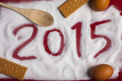 2015 Christmas and New Year Food Greetings Royalty Free Stock Image