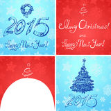 Christmas and New Year 2015. Four images of the New Year and Christmas, headlines and text box stock illustration