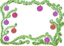 Christmas and New Year frame. Watercolour hand drawn picture - christmas and new year frame Royalty Free Stock Images