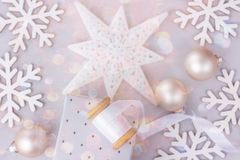 Christmas New Year Frame Banner Background Snow Flakes Star Baubles Gift Box White Silk Ribbon Spool Colorful Confetti Glitter. Lights Greeting Card, Poster Royalty Free Stock Photo