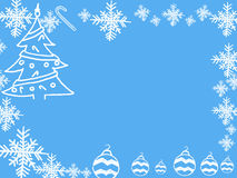 Christmas and New Year 2016 frame on blue background. Royalty Free Stock Photography