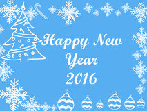 Christmas and New Year 2016 frame on blue background. Stock Images