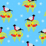Christmas and New Year frame of the branches of mountain ash, bullfinches and snowflakes, seamless pattern. Christmas and New Year frame of the branches of Stock Illustration