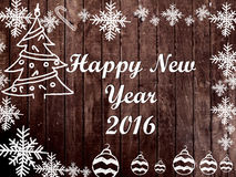 Christmas and New Year 2016 frame on wood background. Greeting card design stock illustration