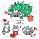 Christmas and New Year funny set. Cute cartoon cats Royalty Free Stock Images