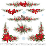 Christmas,New year garland,borders,corner set Stock Images