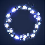 Christmas and New Year Garland Light Design on Blue Background. Holiday lights. Vector illustration Stock Images
