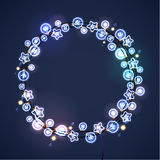 Christmas and New Year Garland Light Design on Blue Background. Holiday lights. Vector illustration Stock Image