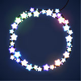 Christmas and New Year Garland Light Design on Blue Background. Holiday lights. Vector illustration Royalty Free Stock Image