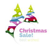 Christmas and New Year geometric banner with text Stock Photos