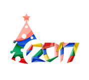 2017 Christmas and New Year Geometric Banner. With white space for text. Greeting card element Royalty Free Stock Photography