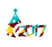 2017 Christmas and New Year Geometric Banner. With white space for text. Greeting card element Stock Photo