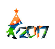 2017 Christmas and New Year Geometric Banner Royalty Free Stock Photography