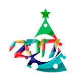 2017 Christmas and New Year Geometric Banner. With white space for text. Greeting card element Stock Photos