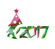 2017 Christmas and New Year Geometric Banner. With white space for text. Greeting card element Stock Images