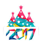 2017 Christmas and New Year Geometric Banner. With white space for text. Greeting card element Stock Image