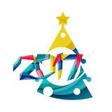 2017 Christmas and New Year Geometric Banner. With white space for text. Greeting card element Royalty Free Stock Photos