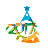 2017 Christmas and New Year Geometric Banner. With white space for text. Greeting card element Royalty Free Stock Photo