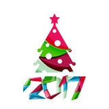 2017 Christmas and New Year Geometric Banner Royalty Free Stock Image
