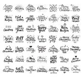 Happy New Year, Merry Christmas, Best wishes. Big handwritten lettering collection. Vector clipart illustrations. royalty free illustration