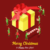 Christmas New Year gift box and trolls flat isometric vector 3d. Merry Christmas Happy New Year flat 3d isometry isometric concept web infographics vector Stock Images