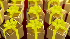 Christmas and New Year gift box looping on red background stock video footage